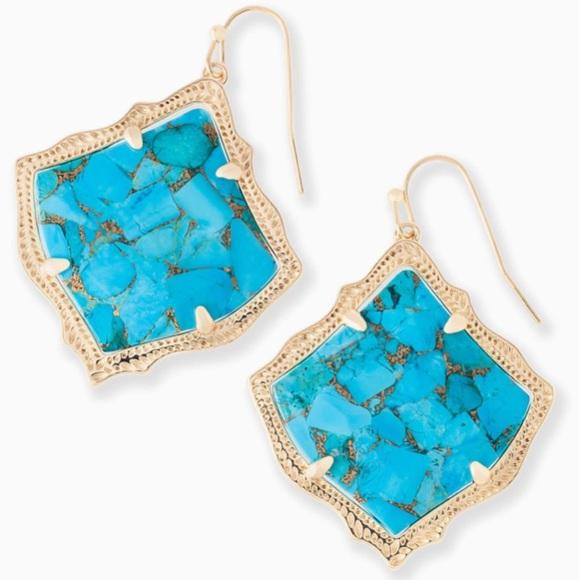 """92eba6ea65cb4 Kendra Scott """"KRISTEN'' turquoise drop earrings NWT"""